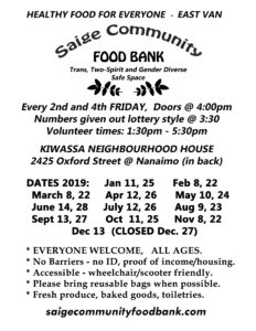 Food Bank Dates Poster 2019