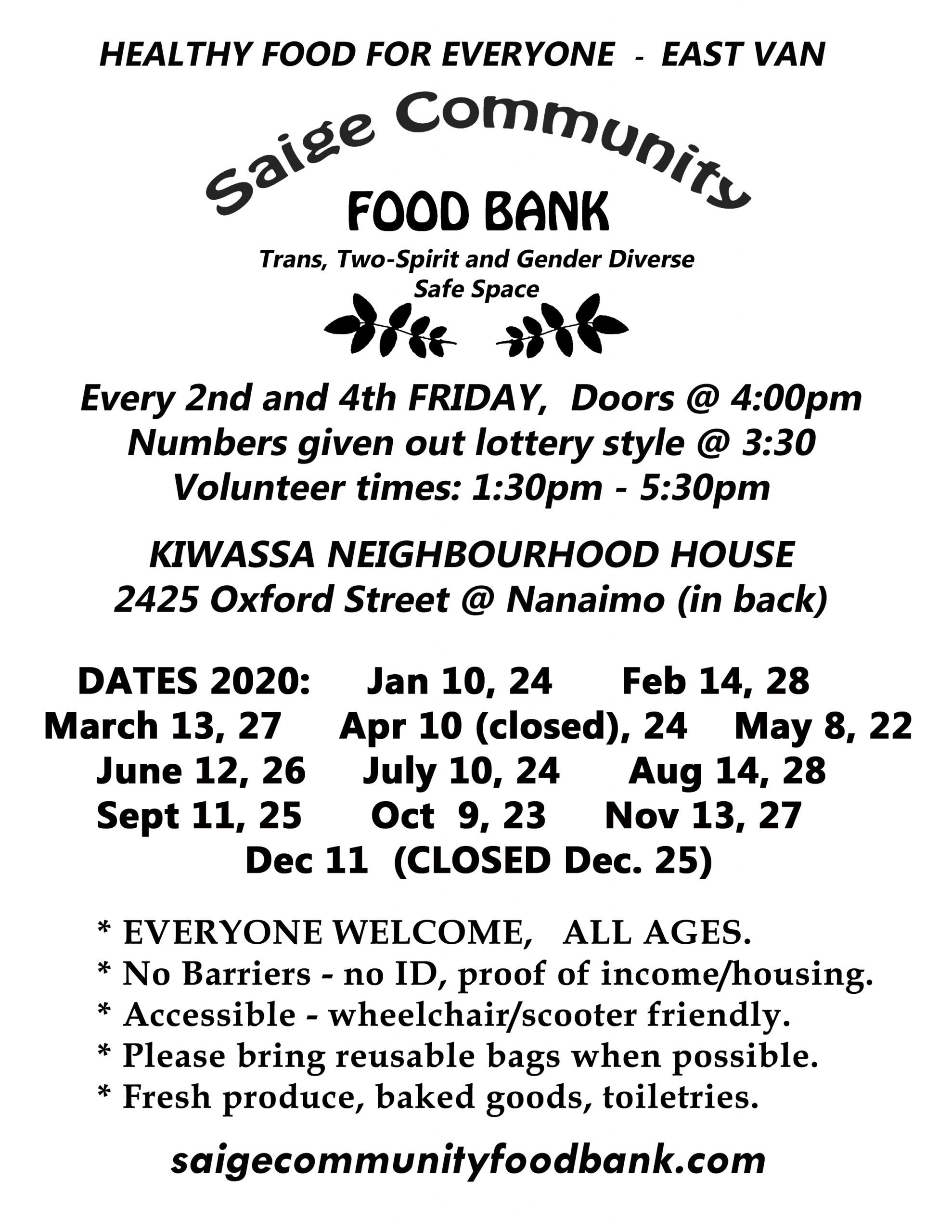 Food Bank Dates Poster 2020